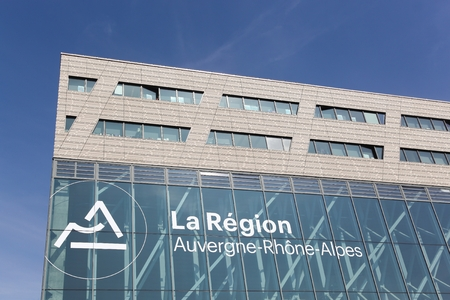 headquaters: Lyon, France - March 15, 2017: Auvergne-Rhone-Alpes building in Lyon. Auvergne-Rhone-Alpes is a region of France created by the territorial reform of French Regions in 2014