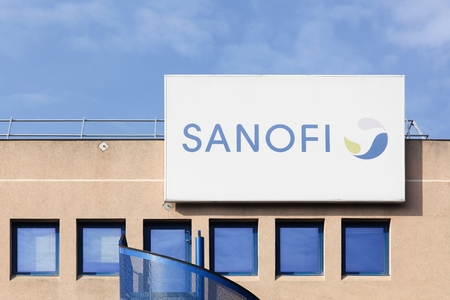 Neuville, France - March 14, 2017: Sanofi building and office. Sanofi is a French multinational pharmaceutical company headquartered in Gentilly, France