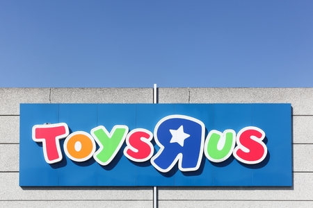 Odense, Denmark - April 2, 2017: Logo of the brand Toys r us.  Toys r us is an American toy and juvenile products retailer