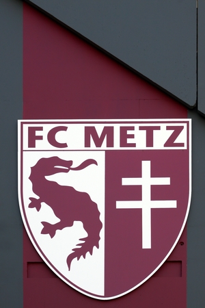 referred: Metz, France - April 20, 2015: Football Club de Metz, commonly referred to as simply Metz is a French association football club based in Metz, Lorraine Editorial