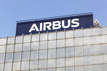 se: Toulouse,  France - June 2, 2017: Airbus is a division of the multinational Airbus SE that manufactures civil aircraft. It is based in Blagnac, France, a suburb of Toulouse, France Editorial