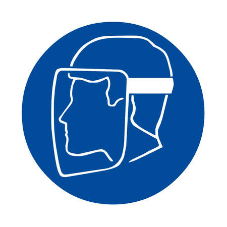 Safety sign with face shield must be worn Stock Photo
