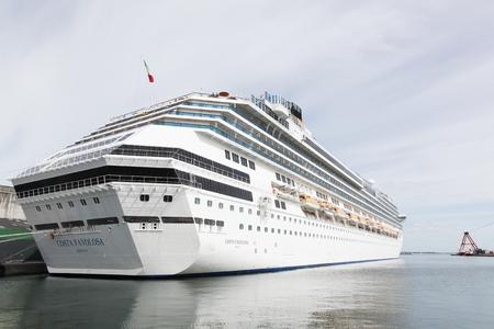 Aarhus, Denmark - July 6, 2017: Cruise ship Costa Favolosa in the port o Aarhus in Denmark Editorial