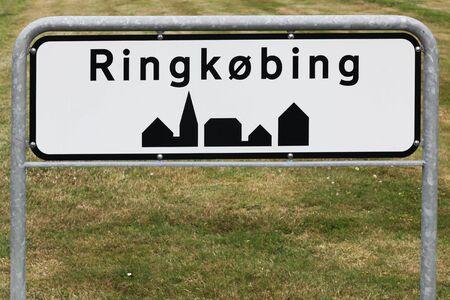 Ringkobing city road sign in Denmark