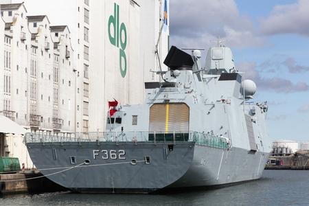 Aarhus, Denmark - August 19, 2017: Frigate Peter Willemoes (F362) from the Royal Danish Navy in Aarhus harbor, Denmark