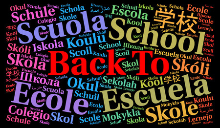 Back to school in different languages word cloud Stock Photo