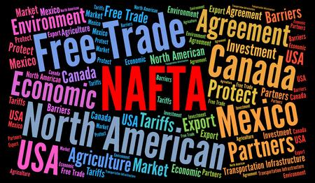NAFTA-woordwolkillustratie Stockfoto - 84642744