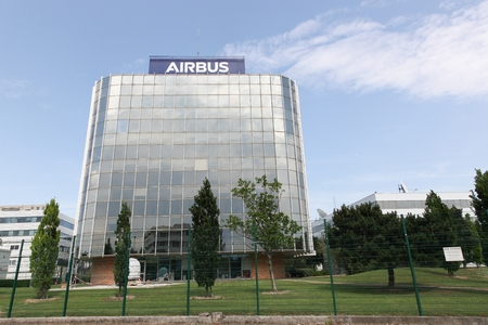 Toulouse, France - June 2, 2017: Airbus building. Airbus is a division of the multinational Airbus SE that manufactures civil aircraft. It is based in Blagnac, France, a suburb of Toulouse, France