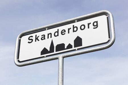 Skanderborg city road sign in Denmark