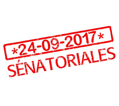 senators: Rubber stamp with text French Senate election 2017 in France