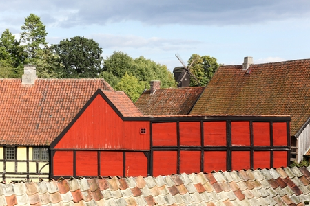 The old town in Aarhus, Denmark called Gamle By in Danish Stock Photo