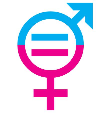 Mannen en vrouwen sex gelijkheid teken concept