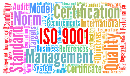 ISO 9001 certification word cloud concept Stock Photo