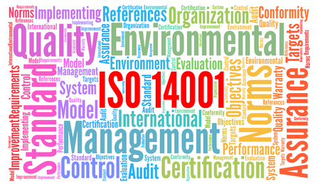 ISO 14001 certification word cloud concept