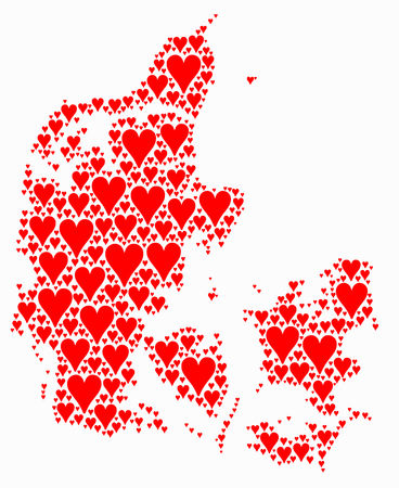 Danish map with red hearts Stock Photo