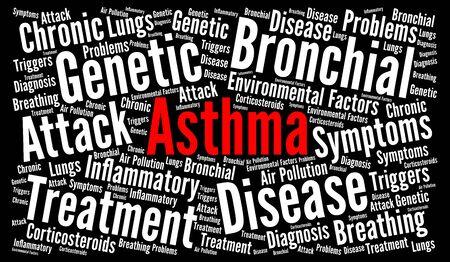 asthmatic: Asthma word cloud illustration Stock Photo