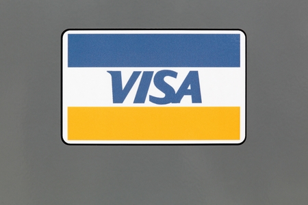 Hvide Sande, Denmark - August 1, 2017: Logo of Visa on a panel. Visa is an American multinational financial services corporation headquartered in Foster City, California, United States