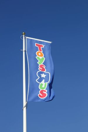 Aarhus, Denmark - August 8, 2015: Flag of the brand Toys r us. Toys r us is an American toy and juvenile products retailer