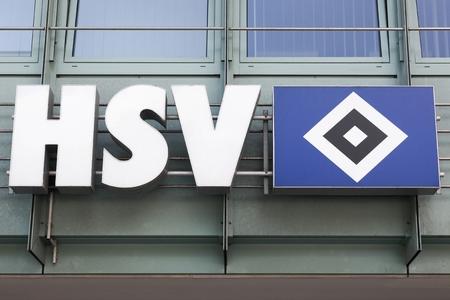 Hamburg, Germany - July 21, 2017: Hamburger SV logo on a wall. Hamburger SV is a German sport club based in Hamburg, its largest branch being its football department