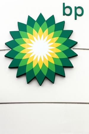 Geneva, Switzerland - October 1, 2017: BP also name British Petroleum, is one of the worlds six biggest oil and gas companies. It is a British multinational company, headquartered in London, England