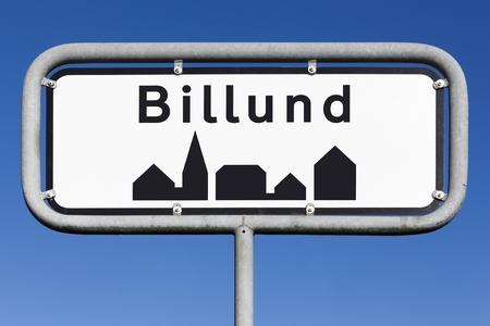 Billund city road sign in Denmark