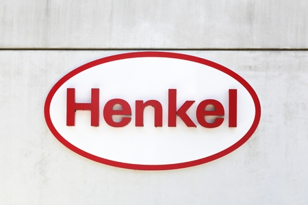 Ballestrup, Denmark - September 10, 2017: Henkel logo on a wall. Henkel is a German chemical and consumer goods company headquartered in Dsseldorf, Germany Redakční