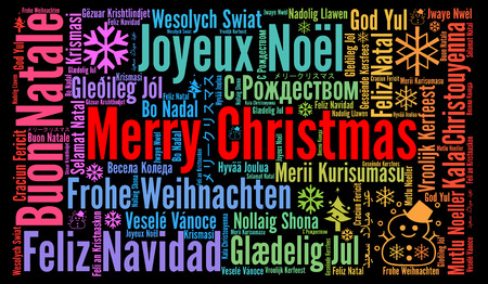 Merry Christmas in verschillende talen word cloud