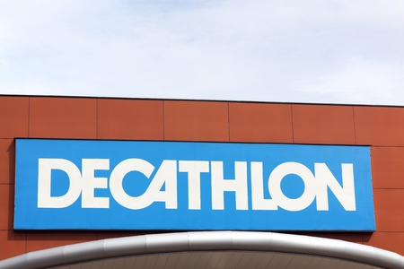 Bourgoin, France - June 26, 2017: Decathlon sign on a wall.Decathlon is a french company and one of the worlds largest sporting goods retailers