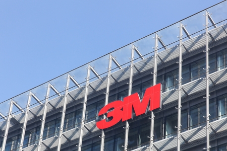Copenhagen, Denmark - September 10, 2017: 3M is an American multinational conglomerate corporation based in Maplewood, Minnesota. 3M produces adhesives, abrasives, laminates and passive fire protection Редакционное