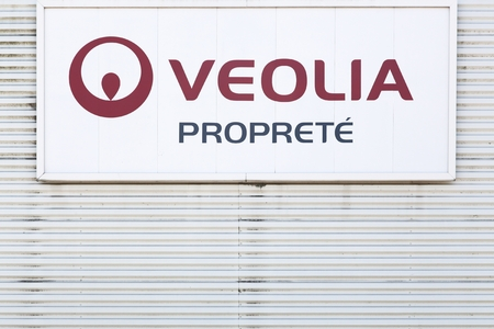 Saint Priest, France - June 18, 2017: Veolia proprete logo on a wall. Veolia Environmental Services (in French Veolia Proprete) is a division of Veolia Environnement