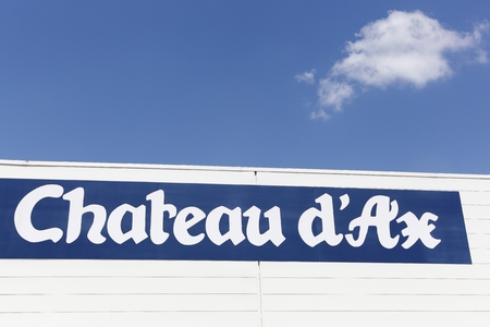 Saint Egreve, France - June 25, 2017: Chateau dAx logo on a wall. Chateau dAx is an Italian brand of stores specializing in home equipment Editorial