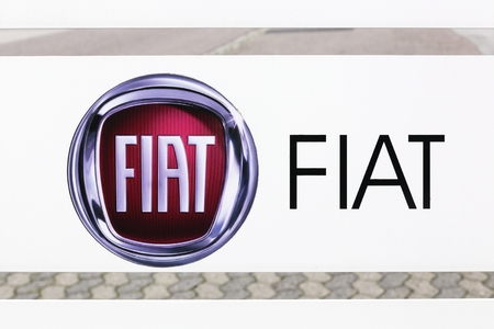 Skanderborg, Denmark - October 21, 2017: Fiat logo on a panel. Fiat is the largest automobile manufacturer in Italy which is part of Fiat Chrysler Automobiles Editorial