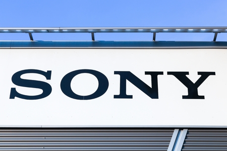 Dortmund, Germany - July 21, 2017: Sony logo on a wall. Sony is a Japanese multinational conglomerate corporation that is headquartered in Konan, Japan