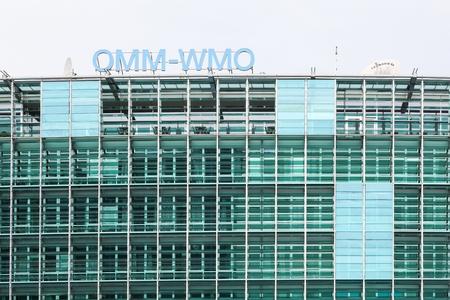 Ginebra, Suiza - 1 de octubre de 2017: El edificio de la OMM en Ginebra. La OMM es la Organización Meteorológica Mundial y una organización intergubernamental con una membresía de 191 Estados miembros.