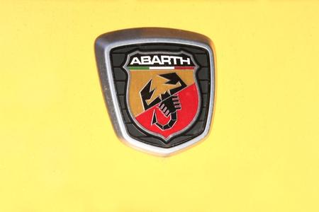 London, United Kingdom - February 1, 2018: Abarth logo on a car. Abarth is an Italian racing car and road car maker founded by Italo-Austrian Carlo Abarth in 1949 Editorial