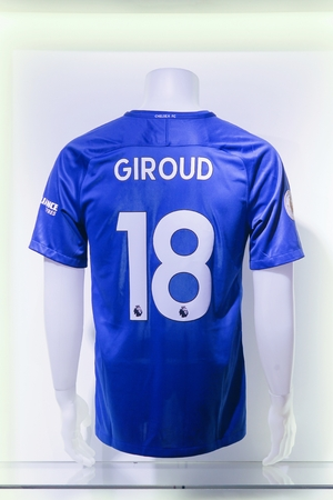 London, United Kingdom - February 1, 2018: Shirt of Olivier Giroud, new signing of Chelsea football club in January 2018 at Chelsea stamford bridge stadium store