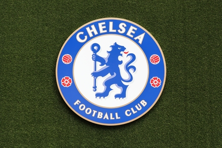 London, United Kingdom - February 1, 2018: Logo of Chelsea football club on a wall at stamford bridge stadium. Chelsea Football Club is a professional football club in London, England, that competes in the Premier League