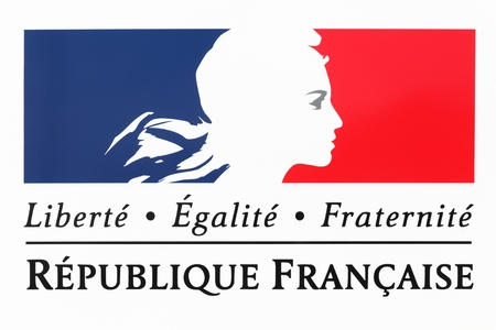 Liberty, equality, fraternity sign and the national motto of France Stock Photo