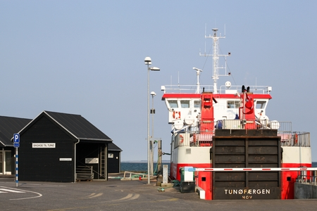 Hou, Denmark - March 28, 2014: The ferry sailing between Hou and the car-free island Tuno in Denmark