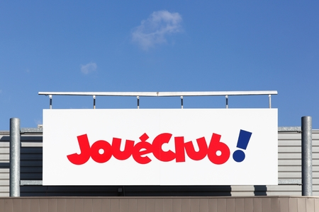 Belleville, France - March 20, 2018: JoueClub on a wall. JoueClub is a chain of toy stores with cooperative status