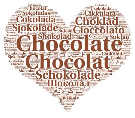 Chocolate in different languages word cloud