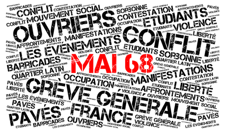 May 1968 events in France, 50th anniversary word cloud in French Banco de Imagens