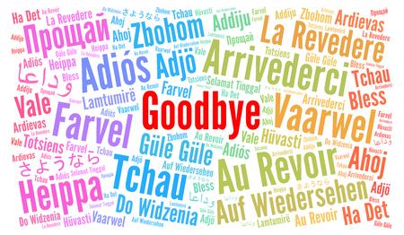 Au revoir dans différentes langues nuage de mot Banque d'images