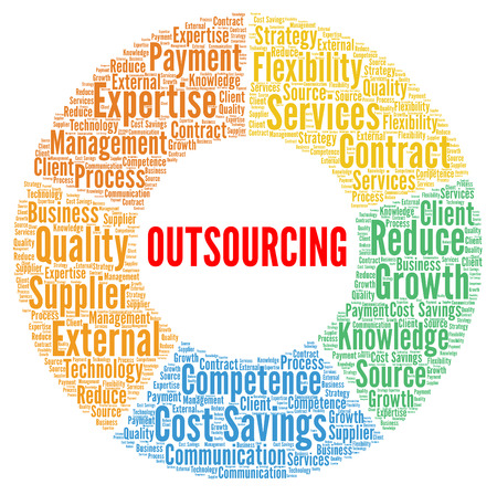 Outsourcing word cloud concept illustration Banque d'images - 100123157