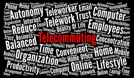 Telecommuting word cloud concept Foto de archivo - 100725201