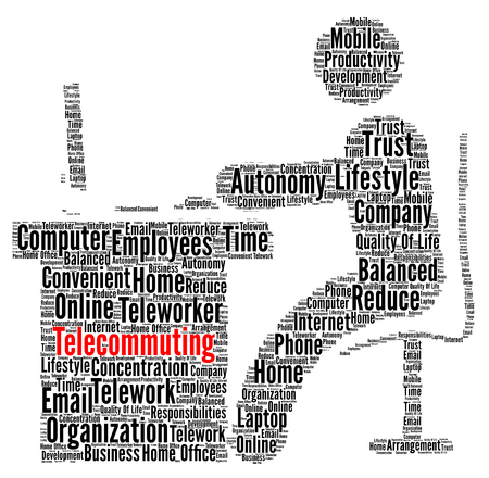 Telecommuting word cloud concept Stock Photo