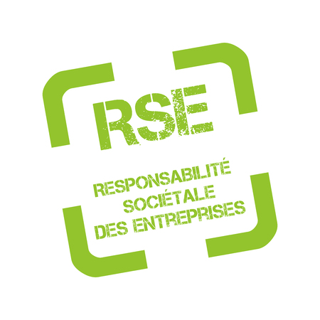 Rubber stamp with Corporate social responsibility called responsabilite societale entreprise in French Foto de archivo