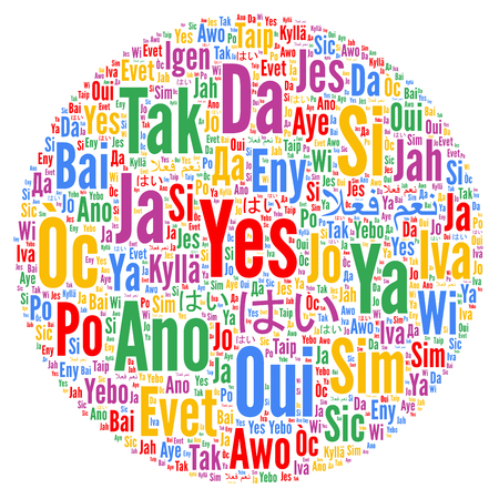 Yes word cloud in different languages 스톡 콘텐츠