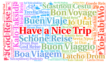 Have a nice trip word cloud in different languages 스톡 콘텐츠
