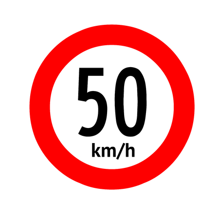Speed limit traffic sign 50 Banque d'images - 101255970